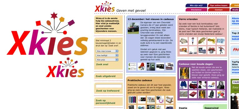 Logo en basis website xkies.nl